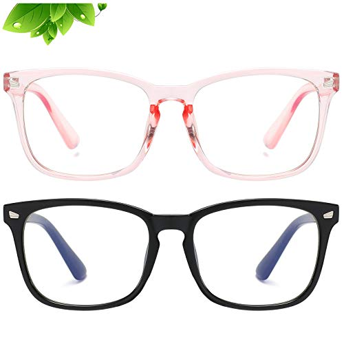KUGUAOK 2 Pack Kids Blue Light Blocking Glasses, Boys Girls Computer Gaming TV Glasses, Lightweight Eyeglasses Frame (Age 4 to 12)