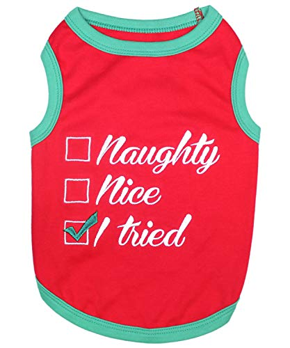 Parisian Pet Funny Christmas Holiday Dog Cat Pet Shirts Tee Tanks - Naughty or Nice, Santa Outfit, Elf Size, Santa's Helper, Sorry Santa I Ate Your Cookies (Naughty or Nice, S)