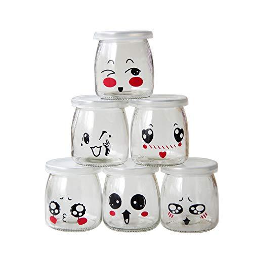 Barattoli per yogurt da 200 ml, con coperchio e design a emoticon,...