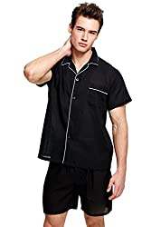 Cotton sleepwear, shirt and shorts in black color.