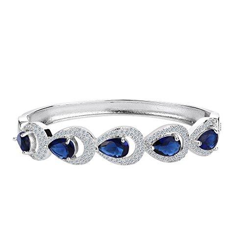 EVER FAITH Pulsera Brazalete Mujer Lágrimas 5 Cristales Zirconias Elegante para Regalo Boda Novia Azul