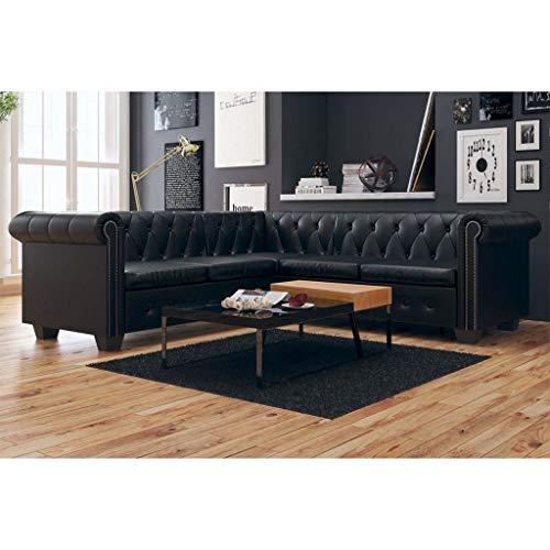 Festnight- Kunstleder 5-Sitzer Ecksofa Chesterfield Sofa Polstersofa Loungesofa Wohnzimmersofa Couch L-Form 205 x 205 x 73 cm Schwarz/Braun
