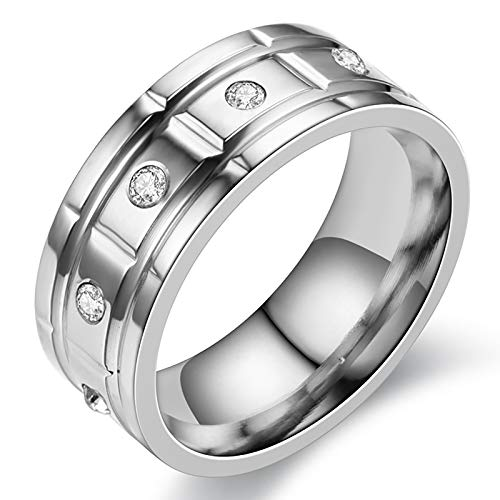 HFSKJWI Anillo de Acero de Titanio con Incrustaciones de Diamantes,Anillo d Acero Inoxidable,Accesorios Exagerados,Anillo de Pareja, 8 Mm de Ancho,Plata,No. 6