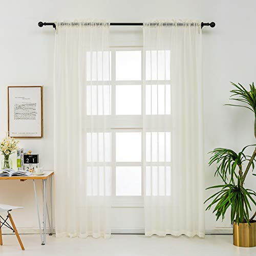 """Semi Sheer Curtains White Voile - Home Decoration Open Weave Privacy Sheer Window Treatments Panels for Bedroom/Nursery/Kitchen, Beige, Each Panel 52 Wide by 84 Long - inch, Set of 2 (52""""X84"""", Beige)"""