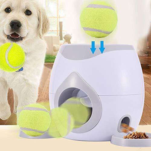 rosemaryrose ballwurfmaschine Hunde Activity futterautomat -Haustier Futterspender mit Tennisball Werfer -Automatische Interaktive Nahrungsmittelzufuhr Spielzeug für Hunde Katzen und Andere Hasutiere