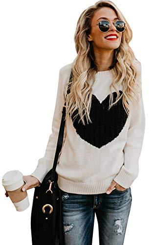 shermie Women's Pullover Sweaters Long Sleeve Crewneck Cute Heart Knitted Sweaters Beige S