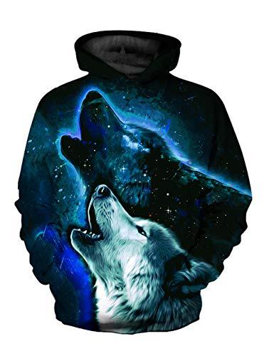 CAMLAKEE Jungen 3D Druck Hoodie Kinder Wolf Grafik Pullover Mädchen Lustig Kapuzenpullover Unisex Hoodies mit Kängurutasche 5 Etikettengröße L/6-7 Jahre