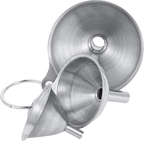 Ramoni Juego de 3 embudos de acero inoxidable, embudos de cocina apilables pequeños con mango, herramienta de llenado de cocina para la transferencia de líquidos