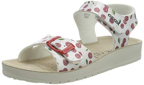 Geox J COSTAREI GI Sandal, Silver/RED, 36 EU
