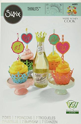 Sizzix 60367000 Lot de 7 Thinlits Dies Emballages pour Cupcake par WW Cook, Métal, Multicolore, 26,1 x 17 x 0,5 cm