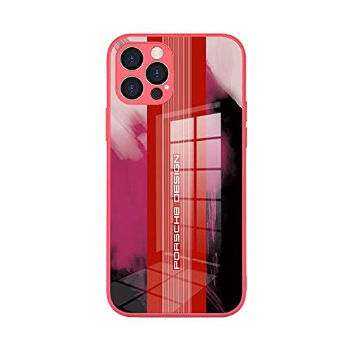 Adecuado para iPhone 12 caso de vidrio templado Apple 12pro max personalizado mate teléfono caso Porsche modelo-rojo_iPhone 12 Pro