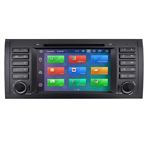 Android 10 Autoradio 4+64G para BW 5 Series E39/X5 E53/ M5/7 Series E38 BM 1 DIN Radio GPS Control del Volante Bluetooth WiFi 4G RDS DSP Dab+ Entrada de Vista Trasera USB Botones LED DVD