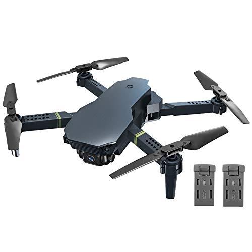 B&H-ERX FPV WiFi Drone con Cámara Dual 4K, Drone Plegable Gran Angular RC Quadcopter Avión Portátil Juguete Control De Aplicaciones Tiempo De Vuelo Largo 40 Minutos (20 + 20) con 2 Baterías,Negro