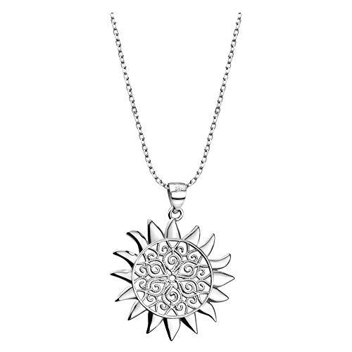 SOFIA MILANI Damen Halskette Stern Sonne Anhänger Silber 50286