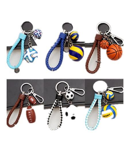 Llavero de fútbol de 6 piezas, diseño de balón de rugby y voleibol de fútbol, ideal para hombres y niños