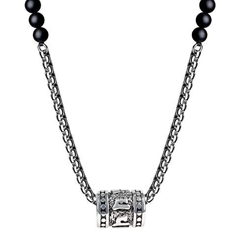 coai sex-syllabled sanskrit mantra mala bön halsband e rostfritt stål, colore: Svart, cod. C2541