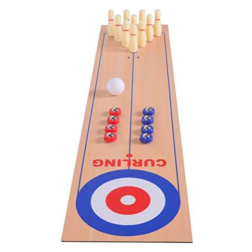 HEREB Kinder Lernspielzeug - 3 in 1 Tisch Curling Spiel Bowling Shuffleboard Tisch Set Familienspiele für Home Party Geschenk für Kinder und Erwachsene