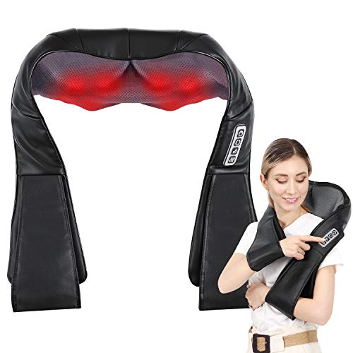 Back and Neck Massager,Shiatsu Neck Shoulder Massager,Electric Back Massagers for Neck, Back, Shoulder, Foot and Legs, Use at Home, Car, Office