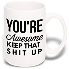 "❤️ THE PERFECT SIZE COFFEE CUP: At 15 ounces, this large funny mug is great for an extra large dose of caffeine in the AM- Not one of those smaller ""promotional"" funny mugs. The perfect best friend gifts when your awesome bestie needs to be reminded ..."