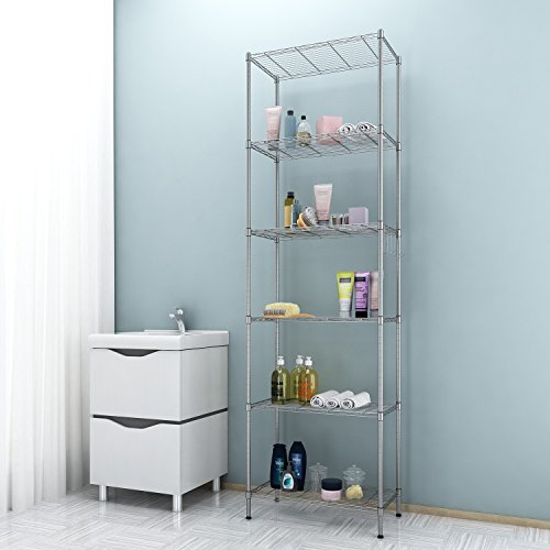 with Leveling Feet and Stainless Side Hooks Black Adjustable Heavy Duty Storage Shelves for Kitchen Organization Free Standing Shelving Unit BATHWA 6-Tier Metal Wire Rack
