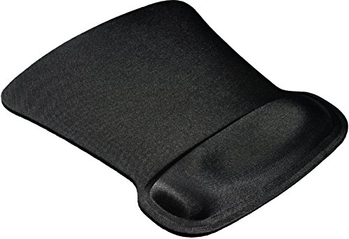 Allsop Mousepad with Square Gel Wrist Support and Non-Slip Backing - Black