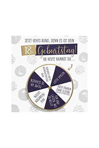 BSB Lustige Geburtstagskarte Geburtstagsgrüße Geburtstagswünsche zum 18. Geburtstag - Moving Cards - Drehrad - Umschlag gold, 642002-2