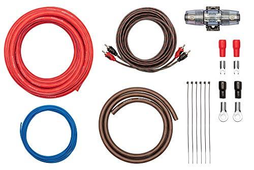 Kabelkit 20mm² fertig konfektioniert - Auto Verstärker Anschluss-Set – mit Powerkabeln, Cinchkabel, Sicherungshalter, Sicherungen – Installations Kit für Endstufen