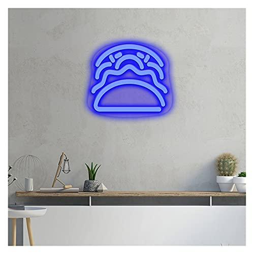 Ideal Custom Shop LED Hamburgo Signo de neón, luz de Pared acrílica Personalizada para casa de Casas Decoración de la Sala de iluminación Logotipo de Logo Neon (Color : Blue, Size : 51.8cmX46cm)