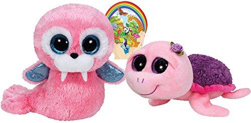 Ty Beanie Boos ROSIE Purple Rose Schildkröte und Tusk Rosa Walross-Geschenk-Set von 2 Plüsch-Spielwaren 6-8 Zoll groß mit Bonus Tiere Aufkleber