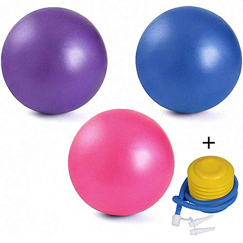3 Pack Mini Exercise Balls with Air Pump, 9-10 Inch Professional Grade Anti Burst Heavy Duty and Slip Resistant Small Pilates Ball for Yoga Fitness Stability Barre Balance Training Physical Therapy