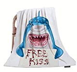 HGOD DESIGNS Shark Throw Blanket,Funny Animal Blue Shark Holding Bloody Free Kiss Sign Soft Warm Decorative Throw Blanket for Bed Chair Couch Sofa 50'X60'