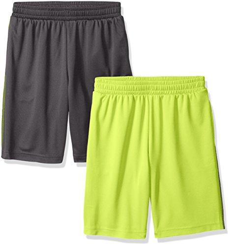 Amazon Essentials Boys' 2-Pack Mesh Short, 2er-Pack Grau/Limette, Small