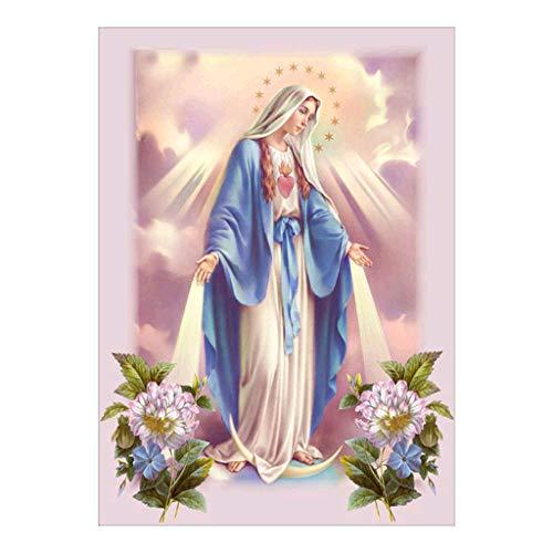 5D Pintura de Diamante Cuadros Bordados Kit de Punto de Cruz Decoración Pegatinas de Pared - Virgen María