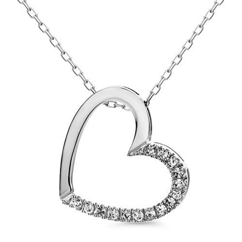 Orovi, collana da donna in oro bianco 0,1 ct, con ciondolo a forma di cuore in oro 9 carati (375) e diamanti brillanti, lunghezza 45 cm