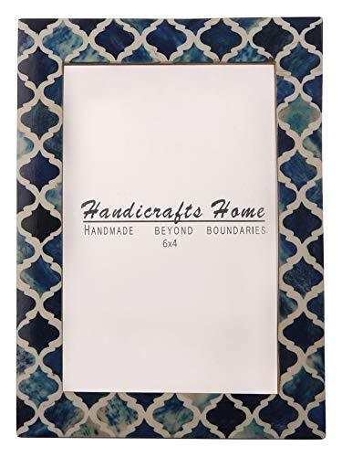Handicrafts Home 4x6 Bild Foto Rahmen maurisch Damast marokkanisch Kunst Inspiriert Jahrgang Mauer Dekor Geschenk Rahmen [4x6 Blau]