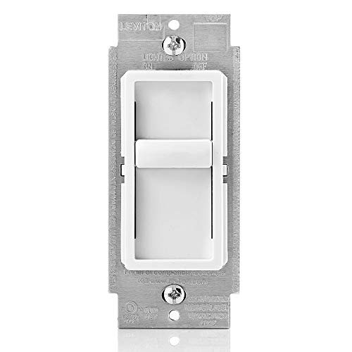 Leviton 6672-1LW SureSlide Universal 150-Watt LED/CFL, 600-Watt Incandescent Slide-To-OFF Dimmer, White