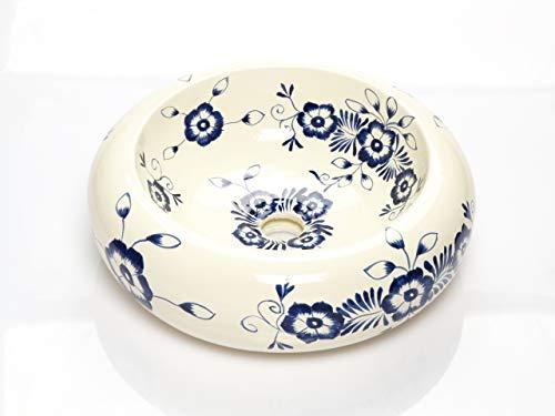 Alonsa - Weißes rundes mexikanisches Keramikbecken – Mexikanische Rund Aufsatzwaschbecken | 40 cm Keramik Talavera Waschbecken aus Mexiko | Buntes motiven | Ideal badezimmer zementfliesen