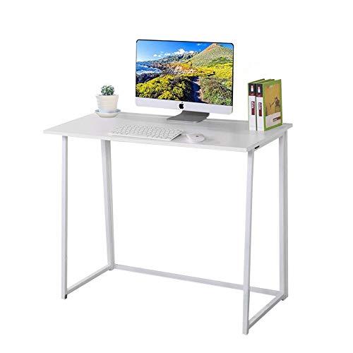Dripex Faltbar Tisch Schreibtisch Computertisch für Homeoffice Arbeitszimmer Klappbar PC Tisch (Weiß)