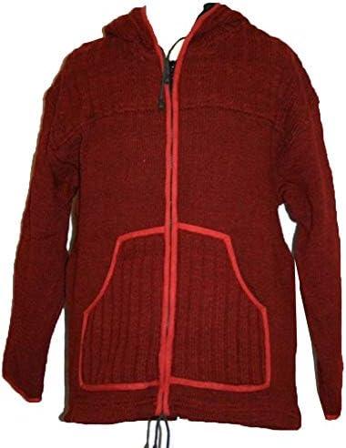 Agan Traders Mens Wool Heavy Fleece Lined Hand Knitted Sherpa Jacket Coat Sweater