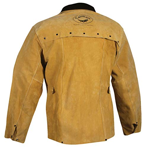 Caiman 3030-3 Welding-Apparel Gold Boarhide with 30-Inch Jacket, Small