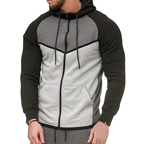 Herren Fleece-Tops Jogging Gym Running Sweatshirt Mit Taschen Casual Sweat Sport Hoodies Pullover Trainingsanzug Grau Für Tops 2XL