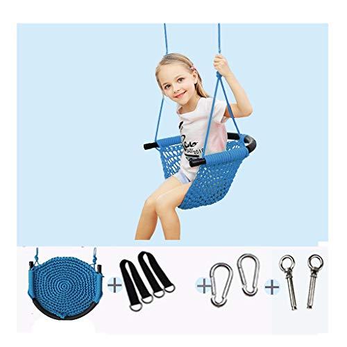 Schaukelsitz Kinder Mesh-Swing, Indoor- und Outdoor-Hand-woven Hammock Swing-Stuhl mit Rückenlehne, Kinder Fun Indoor Garten Kinderschaukel (Color : B)