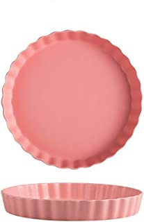 Baking Dish Ceramic Baked Round Baking Tray Simple Fruit Cheese Cheese Pizza Baked Rice Plate 2 Pieces (Color : Pink, Size...