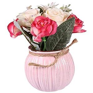 BESPORTBLE Artificial Potted Flower Vintage Hibiscus Rose Bouquet Fake Bonsai Ornament Flower Arrangement with Ceramic Vase for Home Garden Table Office Wedding Decor Pink