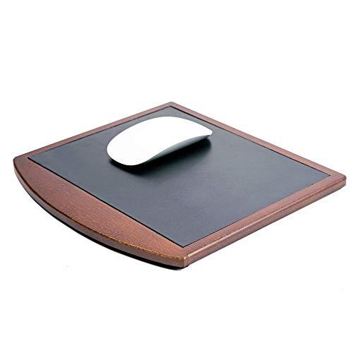 Dacasso Walnoot & lederen muismat, hout, zwart, 25,4 x 24,13 x 0,64 cm