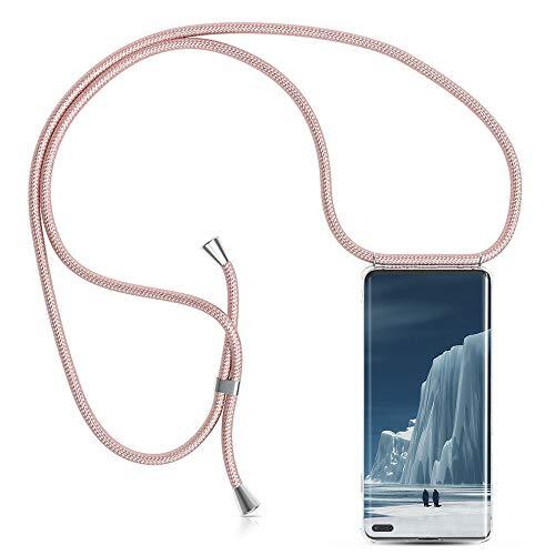 Carcasa de movil con Cuerda para Colgar Samsung Galaxy S10 Plus -Funda para iPhone/Samsung/Huawei con Correa Colgante para Llevar en el Cuello -Hecho a Mano en Berlin[Transparente TPU Case/Oro rosa]