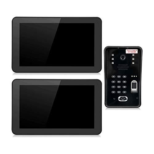 Videoportero de 9 Pulgadas, 2 Monitores Control de Acceso Remoto Cubierta Resistente a la Intemperie Anti Oxidación y Duradera (Color : Black, Size : 238x148x18mm)