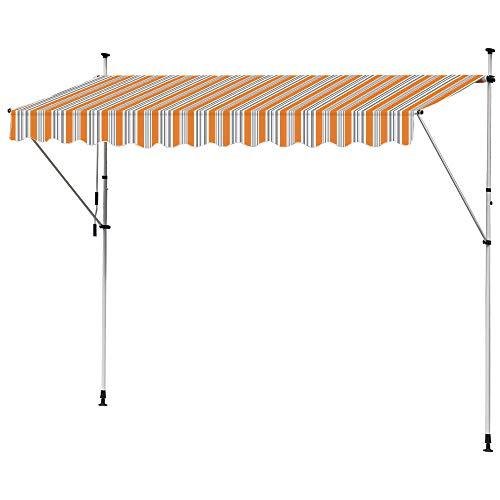 Kingpower Markise Klemmmarkise Balkonmarkise Einziehbar Gelenkmarkise Sonnenschutz Manuell Kurbel Orange Grau 350 cm