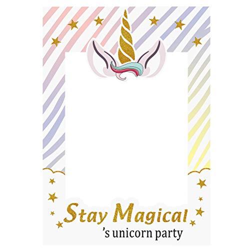 Amosfun Unicorn Photo Frame Props Unicornio Photo Booth Props Mágico Rainbow Unicorn Party Supplies para Baby Shower Birthday Party Favor
