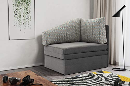 DOMO. collection Delta Sofa, Schlafsofa, Schlafsessel, Gästebett, Tiny Couch, Ecksessel, anthrazit, 116x81x83 cm